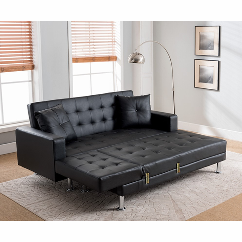 Black PU Sleeping Sectional