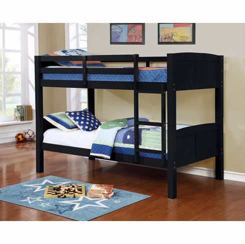 BLACK TWIN OVER TWIN BUNK BED DIVISIBLE TO 2 BEDS