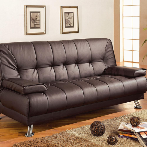 BROWN FUTON SOFA BED WITH ARMS