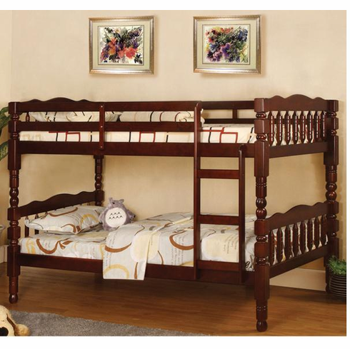 Cappuccino twin over twin bunk bed convertible to 2 beds
