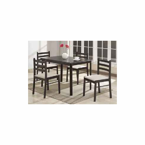 Cappuccinos and  solid wooden table with 4 chairs