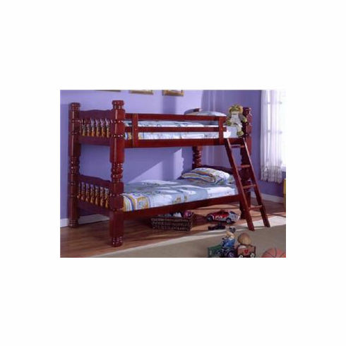 """Cherry 4.5"""" wooden twin/ twin bunkbed convertible to 2 beds"""