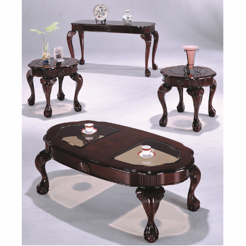 Cherry Queen Ann set with claw foot and glass top