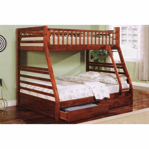 Cherry twin/ full bunk bed comes with 2 drawers