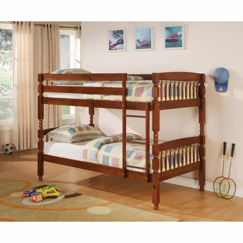 Cherry twin over twin bunk bed convertible to 2 beds