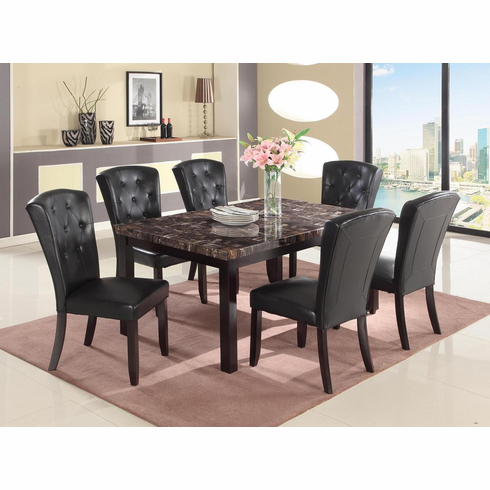 Dark faux marble table with 6 parson chairs