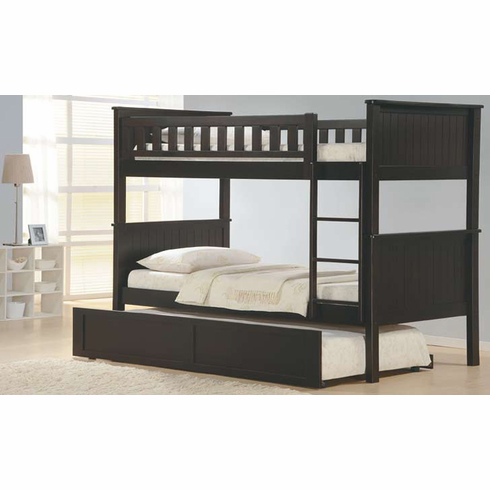 Espresso bunk bed with trundle