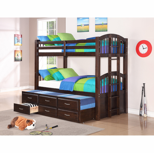 Espresso Bunk Bed with Trundle and 3 drawers