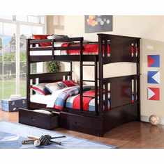 ESPRESSO FULL/ FULL BUNK BED AVAILABLE WITH 2 DRAWERS