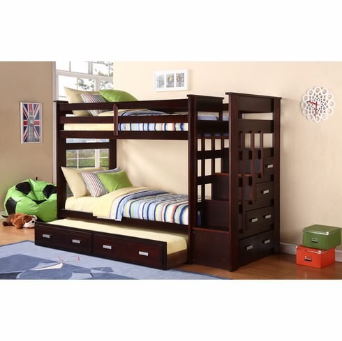 Espresso Stairway Bunk Bed with Trundle and Storage Side Drawers