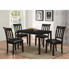 ESPRESSO WOODEN TABLE WITH 4 PADDED SEAT CHAIRS