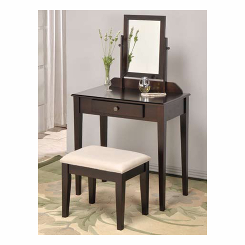 Espresso  Wooden Vanity Table with Chair