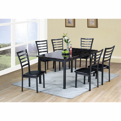 Faux marble table with 4 high back chairs