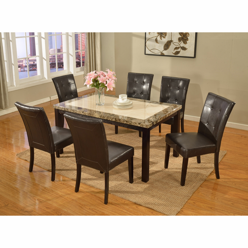 Faux marble top table and 6 parson chairs