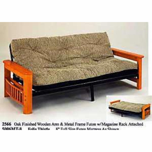 "Futon with magazine rack on the both sides with 5"" mattress"