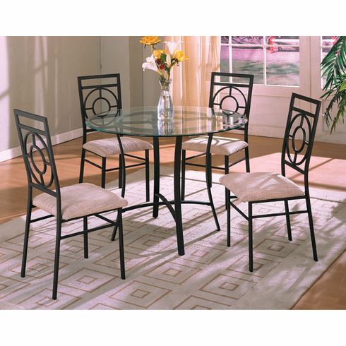 "Glass top 42"" D table with 4 chairs"