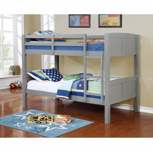 GRAY WOODEN BUNK BED DIVISIBLE TO 2 BEDS