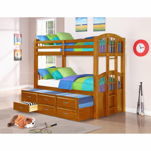 OAK BUNK BED WITH TRUNDLE BED AND 3 DRAWERS