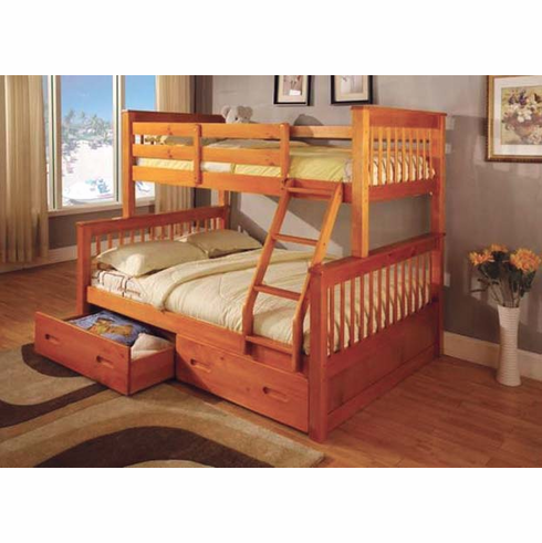 Oak Twin/ Full bunk bed available with drawers