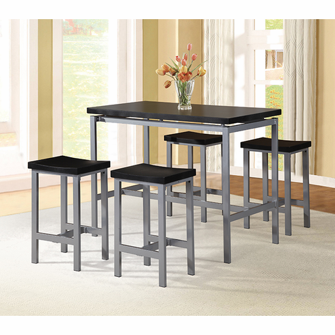 PUB TABLE WITH BLACK TOP SILVER BASE COMES WITH 4 PUB STOOL
