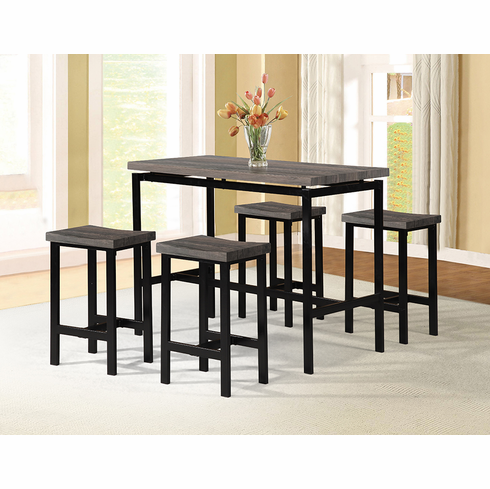 PUB TABLE WITH BROWN TOP AND BLACK BASE COMES 4 PUB STOOL