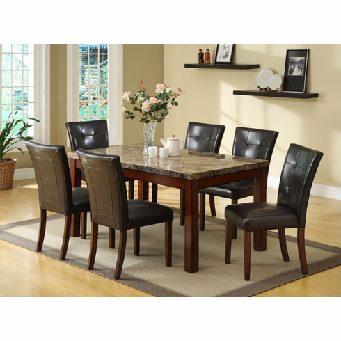 REAL MARBLE TOP TABLE WITH 6 CAPPUCCINO PADDED CHAIRS
