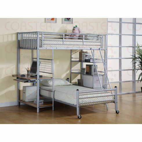 Silver loft bed with desk