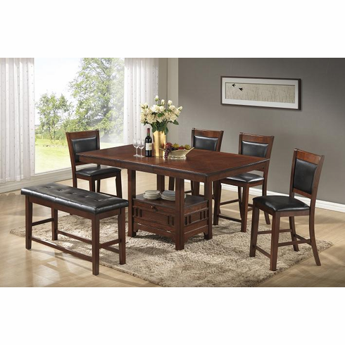 STORAGE TABLEWITH BUTTERFLY LEAF WITH 4 CHAIRS & BENCH