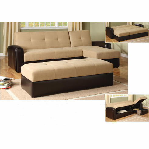 TAUPE/ ESPRESSO SECTIONAL WITH STORAGE COMES WITH OTTOMAN