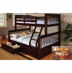 TWIN/ FULL BUNK BED IN ESPRESSO FINISHED AVAILABLE WITH DRAWERS