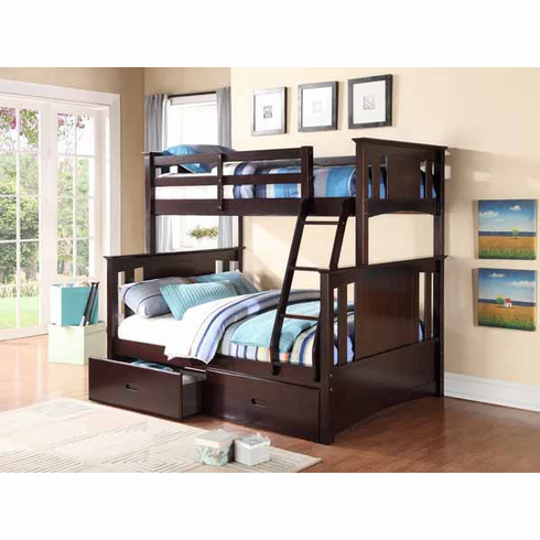 Twin/ Full Espresso Bunk Bed available with 2 drawers