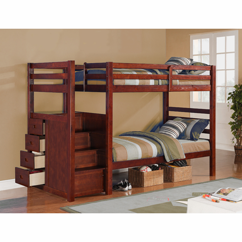 Twin/Twin Drawer Stair Bunk Bed
