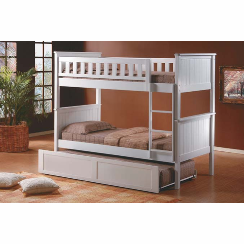 White bunk bed convertible to 2 beds comes with trundle