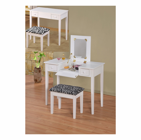 WHITE COLLAPSIBLE MIRROR VANITY TABLE AND STOOL