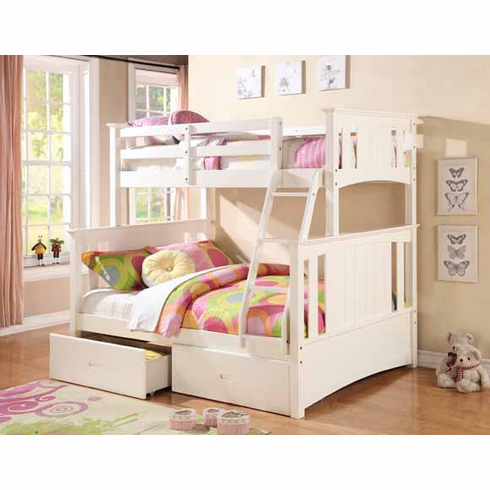 WHITE TWIN/ FULL BUNK BED AVAILABLE WITH 2 DRAWERS