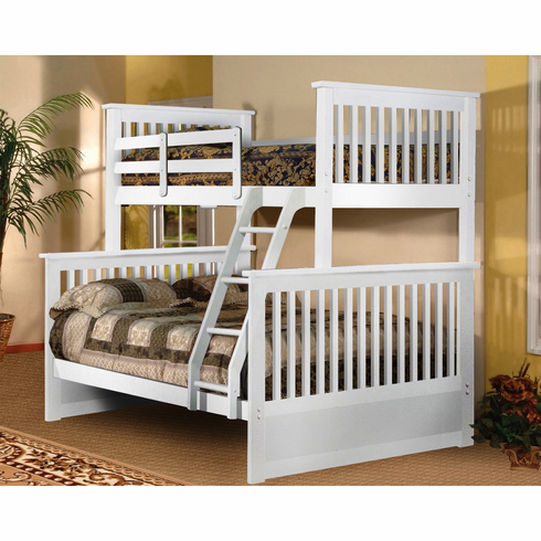WHITE TWIN/FULL BUNK BED DIVISIBLE TO 2 BEDS