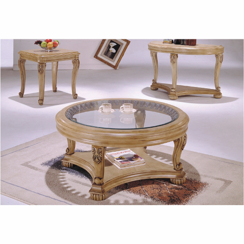 White washed round coffee & end table set (3PCS)
