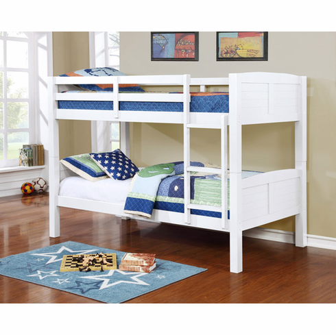 WHITE WOODEN BUNK BED DIVISIBLE TO 2 BEDS