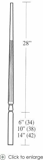 5015 Fluted Pin Top Baluster