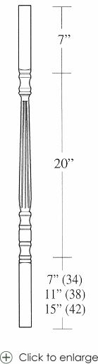 5205 Fluted Square Top Baluster