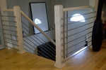 Contemporary Wood and Stainless Round Bar Railing