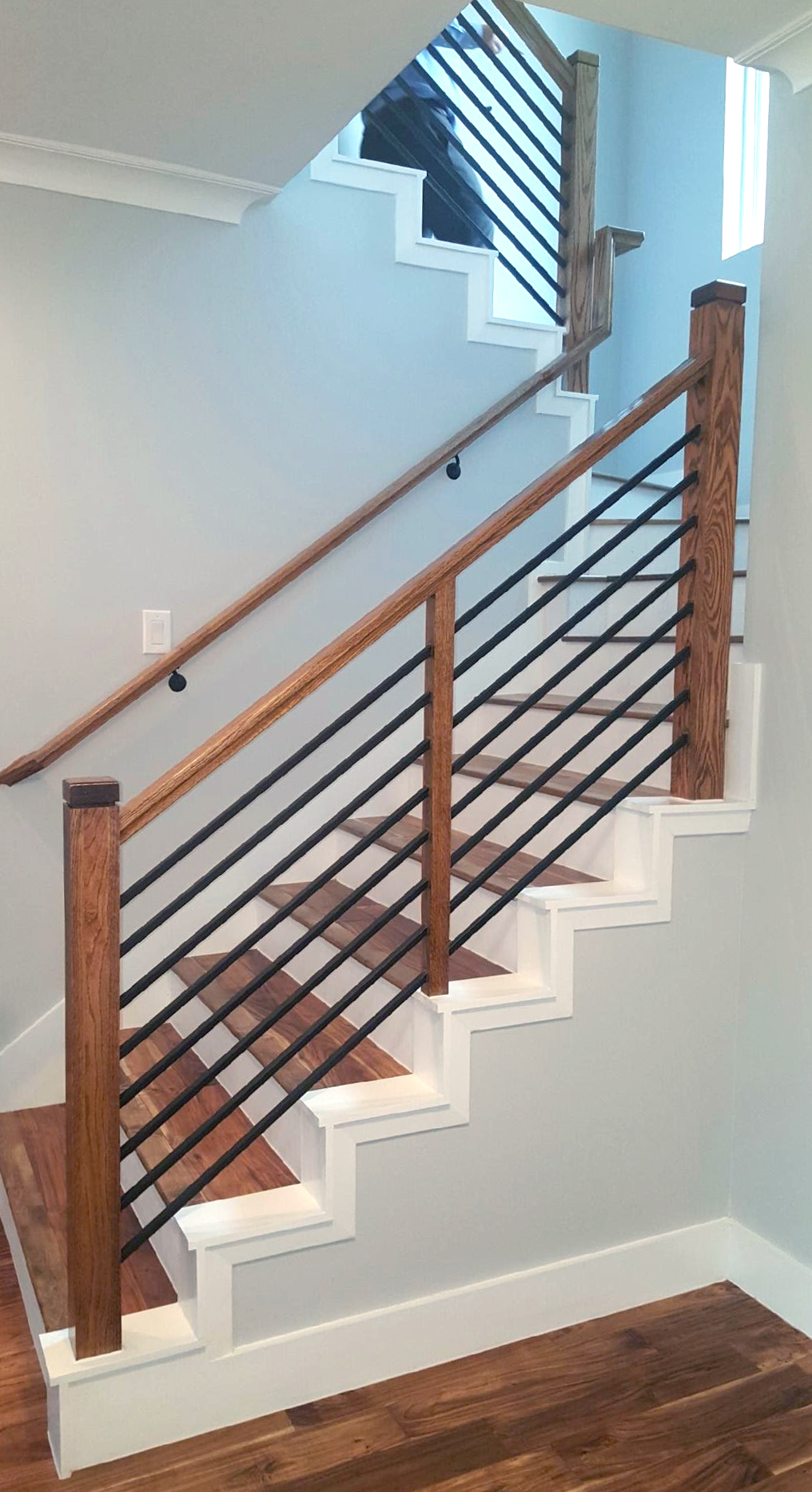 Modern Stair Railing Contemporary Wood And Stainless Round Bar