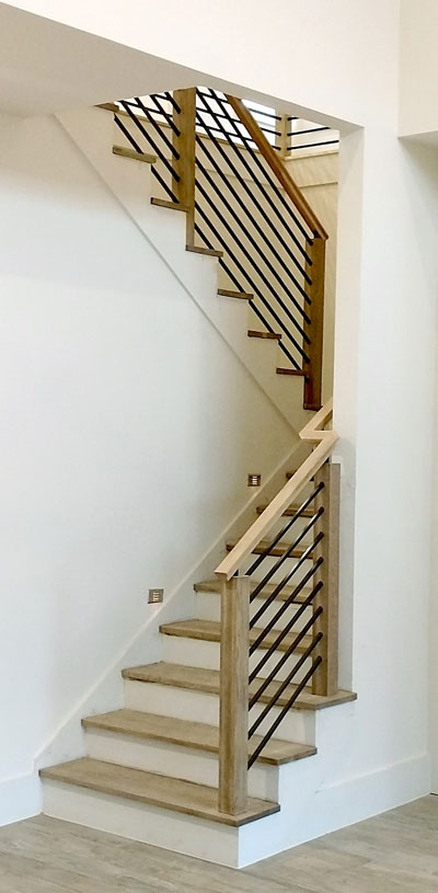 Modern Stair Railing Contemporary Wood And Stainless Round Bar Railing