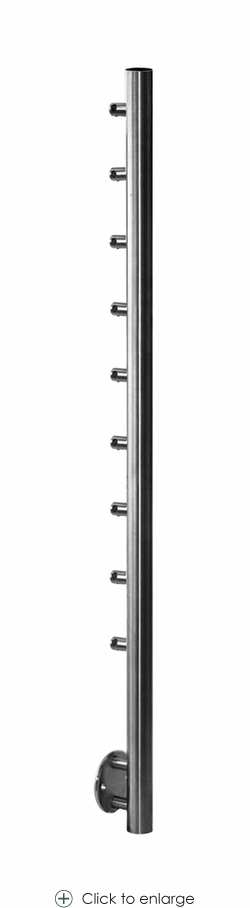 Pre-drilled Side Mount Newel with 9 Round Bar Holders