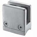 "Square Stainless Square Glass Clamp for 1.66"" Newel - 1/2"" Glass"