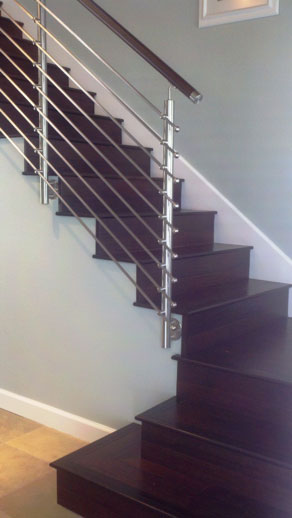 Side Wall Mounted Posts Wood Handrail Stainless Steel