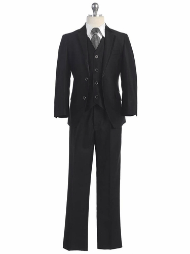 2 Button Black Suit w/ Solid Grey Tie & Black Satin Detail