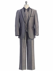 2 Button Gray Suit w/ Black Satin Detail
