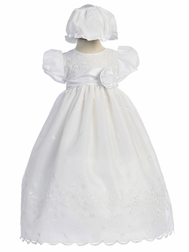 2-PC White Embroidered Organza Girls Christening Gown