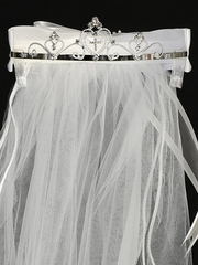 "24"" White Communion Veil w/ Multiple Hearts Rhinestone Tiara"